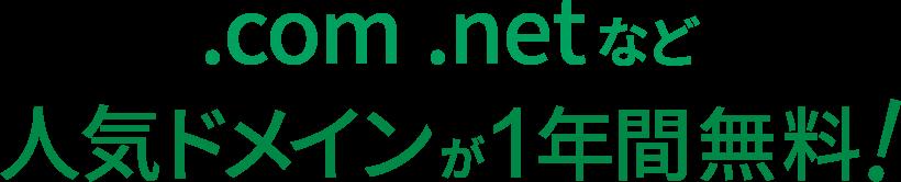 .com .netなど人気ドメインが1年間無料!